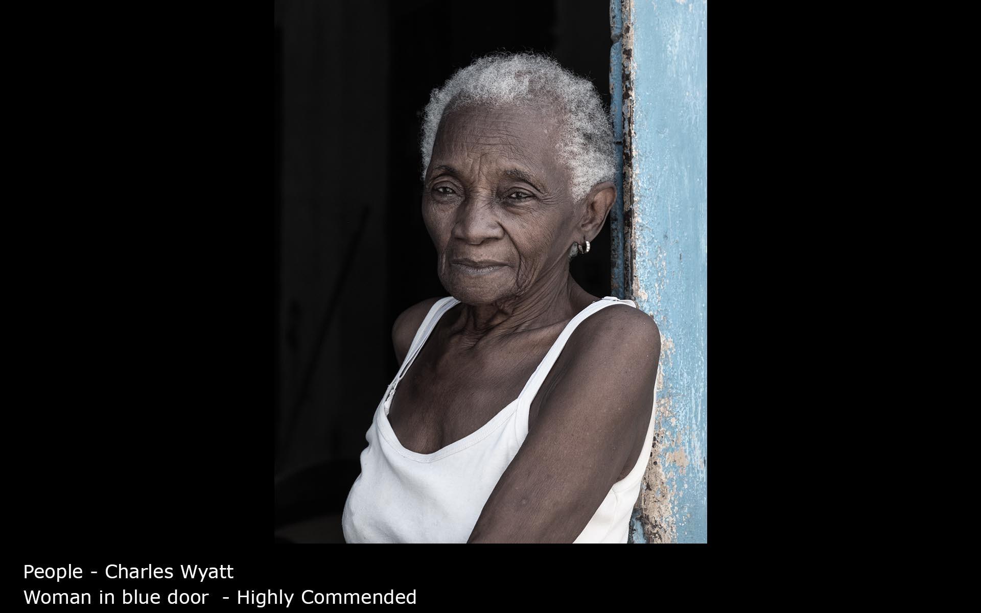 Woman in blue door  - Charles Wyatt